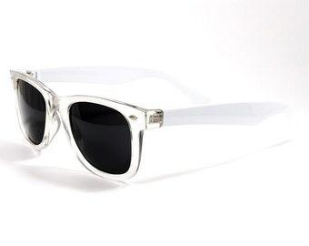 Unisex Retro 90s Clear SeeThrough Transparent White Wayfarer Square Summer Hipster Festival Party Fashion Sunglasses Birthday Gift
