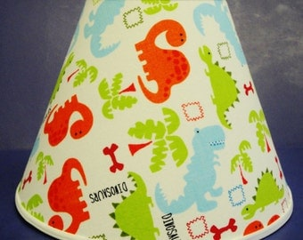 Dinosaurs on White Lamp Shade Dinosaur