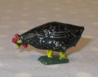 Antique Toy Cast Iron or Lead Chicken Pecking Hen Black Color A6