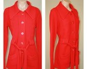 Vintage 60s 70s Virgin Acrylic Fiber Belted Red Cozy Sweater Cardigan size S M