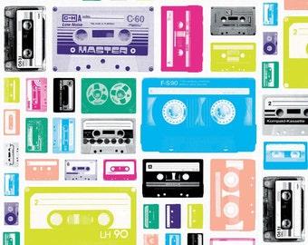 Geekly Chic By Riley Blake Fabrics Geekly Cassettes White Half Yard