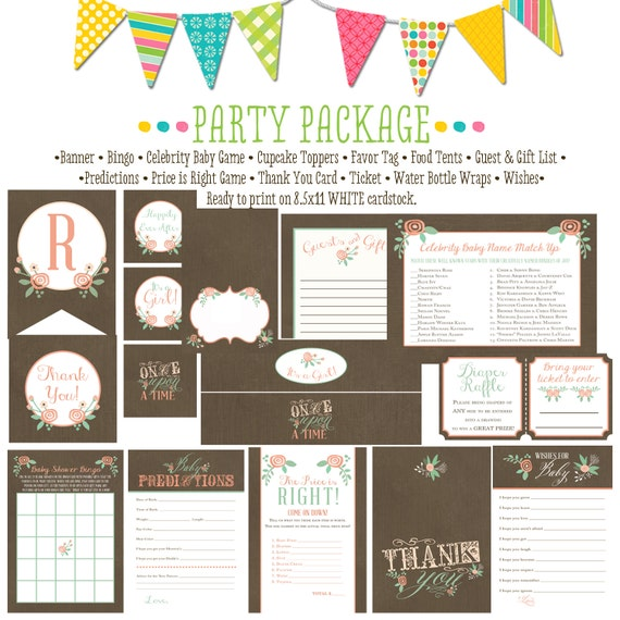 baby girl mint and coral tem 1379 package AS IS Matching games, ticket, banner, bingo, thank you card, water bottle wraps, cupcake toppers