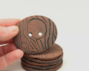 Six Large Pottery Buttons, Large Wood Textured Buttons, Handmade Pottery Buttons, Big Buttons