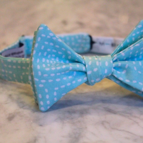 Square Stitch in Aqua Blue Bow Tie - Self tying - freestyle - Groomsmen gift and ring bearer outfit - for men or boys wedding attire