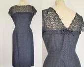 1950s Black Lace Cocktail Dress // LACE AFFAIR Dress // Vintage 50s Party Dress // Medium