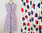 1970s Day Dress • FALLING TULIPS DRESS • Vintage 60s Tie Waist Cotton Dress • Large