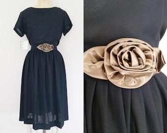 1950s Black Dress // Bronze Rose Dress // Vintage 50s Belted Rayon Dress // Medium
