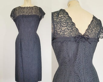 1950s Black Lace Cocktail Dress // LACE AFFAIR Dress // Vintage 50s Party Dress // Medium