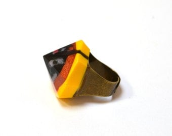 Handmade Statement Faceted Resin Ring - One of a kind, Adjustable Back-Assorted Colours
