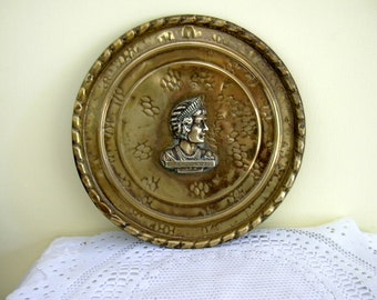 Vintage Brass Wall Hanging English 1937 Coronation Relief Plaque Queen Mother Elizabeth Consort of George Vl British Royalty