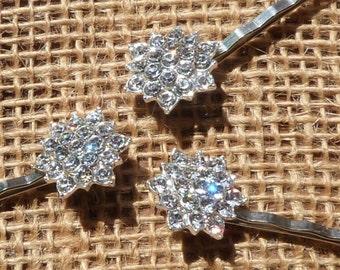Set of 3 rhinestone bridal fascinator gem hair pin
