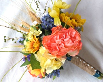 Sunflower coral rose wild flower bridal bouquet silk flower wedding bouquet set Rustic bouquet sunflower and wheat bouquet