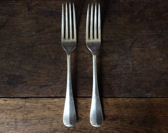 Vintage English 2 forks large dinner cutlery circa 1940's / English Shop
