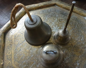 Vintage English bell brass collection mixed set of 3 missing clangers circa 1950's / English Shop
