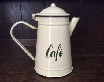 Vintage French café coffee cream and green enamel metal tea coffee pot circa 1970-80's / English Shop