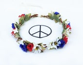 Bernie Sanders Red and Blue Flower Crown, Red, White and Blue, Feel the Bern, Floral Crown, USA, Circlet, Patriotic, July 4th,  Hippie