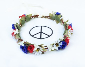 4th of July Flower Crown, Red White and Blue, July 4th, Fourth of July, July Fourth, Floral Crown, Independence Day, Hippie