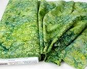 Quiltsy Destash Party - Benartex Batik  Lime Green Yellow  By The Yard  100% Cotton