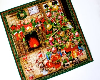 Advent Calendar Quilt Wall Hanging  Christmas Tree Fireplace Activity Panel  Fabric Advent Calendar  Christmas Quilt Handmade Holiday Decor
