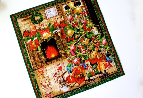 Advent calendar quilt wall hanging christmas eve tree fireplace