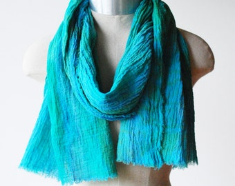 infinity scarf summer, aqua scarf, long cotton scarf