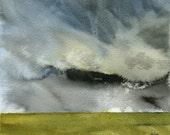 Original watercolor storm landscape painting - Descending cloud