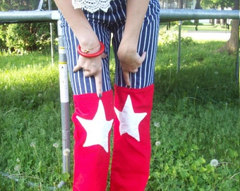 Red White And Blue Denim Hip Hugger Bellbottom Pants Stars And Stripes 4th Of July Patriotic Jeans