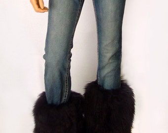 Faux Fur Leg Warmers Boot Covers In Black Angora Style: FG100