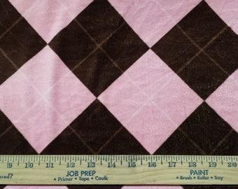 Pink & Brown Minky Minkee Fabric