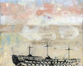 "Original Encaustic Painting- ""The Watcher""  Encaustic Mixed Media Art by Angela Petsis"