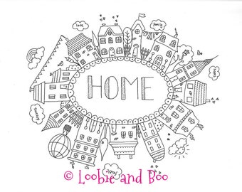 SALE - 'Home' A4 Fine Art Giclee Print from an original pen and ink doodle drawing