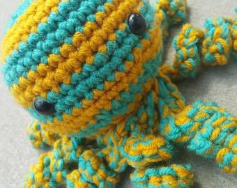 Teal and Mustard Striped Octopus Amigurumi
