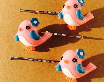 Adorable pink and blue bird bobby pins