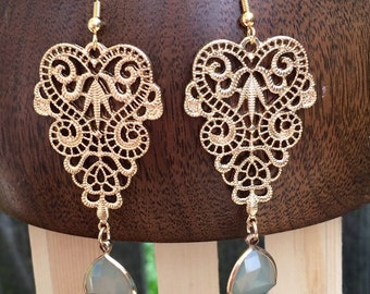 Gorgeous gold lacy dangle earrings
