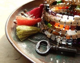 Multi Strand Bracelet, Cuff Bracelet, Mixed Gemstone, Tassel Jewelry, Boho Bracelet, Gypsy Jewelry