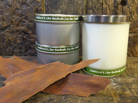 Sandalwood & Lime  Handmade Soy Wax Candle - Flat Rate Shipping Available!