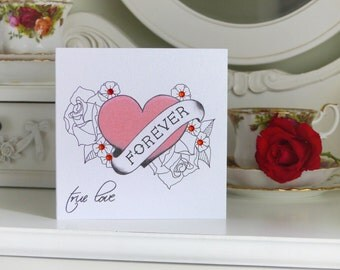 """Tattoo Style """"Forever"""" Anniversary Card"""