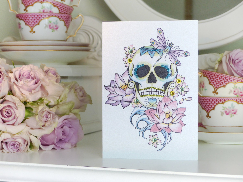 Lotus Flower Tattoo With Dragonfly: Sugar Skull Lotus Flower And Dragonfly Day Of The Dead Tattoo