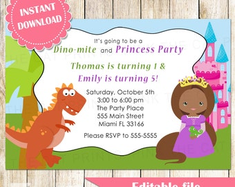 Dinosaur and Princess Invitation - Girl African American Boy Printable Kids Birthday Party Invites Editable File INSTANT DOWNLOAD