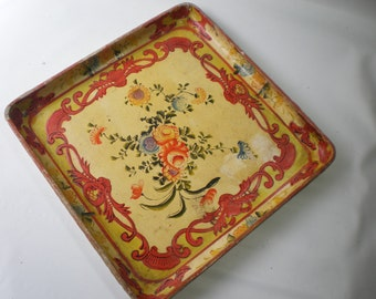 Vintage Square Alcohol Proof Floral Tray