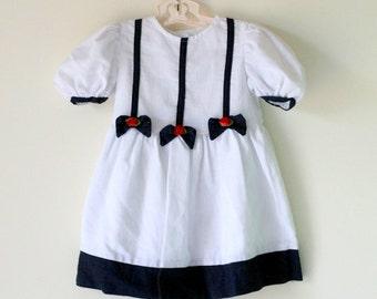 Vintage NAUTICAL Girls Dress....size 4 girls....vintage girls. fourth of july. girls. kids. children. summer. red white blue. floral. mod