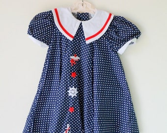 Vintage POLKA DOT Sailor Achor Nautical Dress...size 6 girls...blue dress. girls. kids. children. nautical. mod. 1980s. summer. polka dots