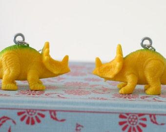 DINOSAUR Earrings...dangly. novelty. dino. retro. science. kitsch jewelry. plastic toy. kawaii. jurassic park. arrhinoceratops dinosaur