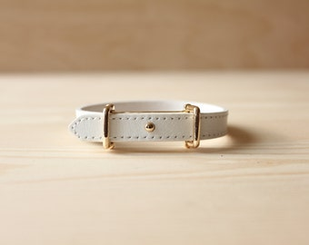 YC Fine Stitched Leather Bracelet(White)