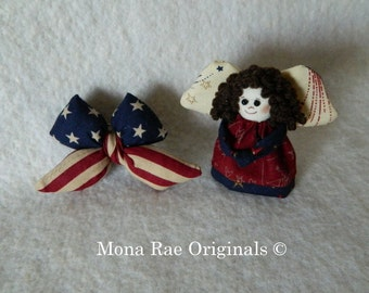 Patriotic Bow and Angel Pins ~