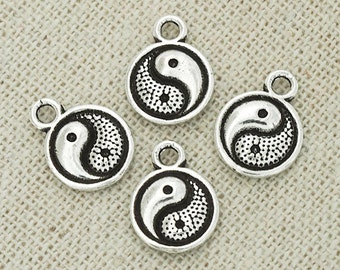 4 of 925 Sterling Silver Yin Yang Printed Disc Charms 9.5mm. :th2286