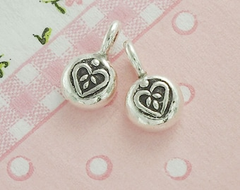 4 of Karen Hill Tribe Silver Heart Imprint Charms 7 mm. :ka4116