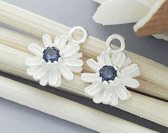 2 of 925 Sterling Silver Daisy Charms, with Lab grown Sapphire    :tm0010