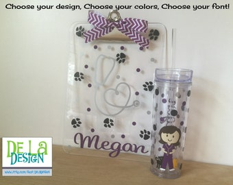 Gift set: Personalized with name acrylic tumbler or water bottle and clipboard - Cute Veterinarian, stethoscope, paw prints, vet
