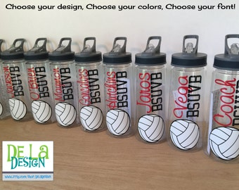 Personalized Clear plastic sport water bottle, Flip top w/ straw, 24 oz size, Basketball, Softball, volleyball, soccer or other sport, name